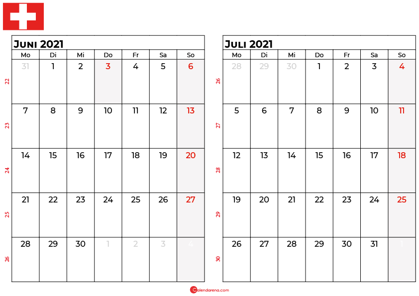 kalender juni juli 2021 Schweiz