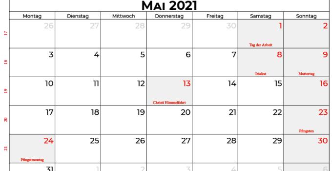 kalender mai 2021 Belgien