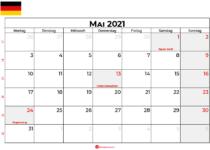 kalender mai 2021 Deutschland