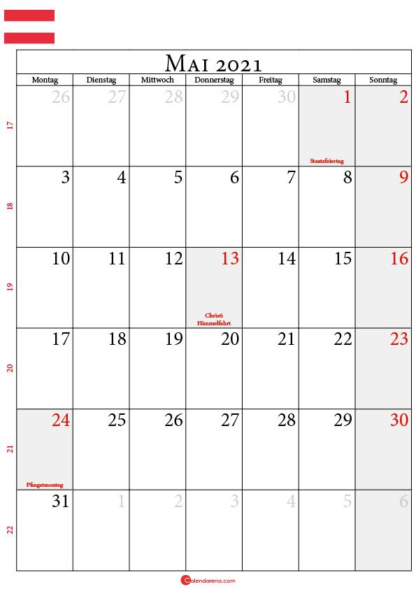 kalender mai 2021 Österreich