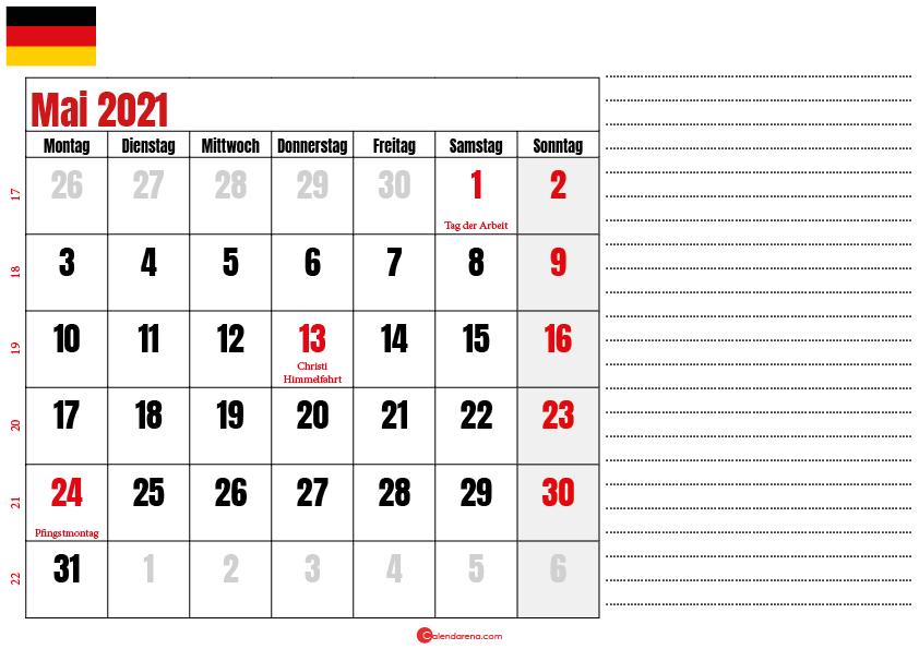 kalender mai 2021 zum ausdrucken Deutschland