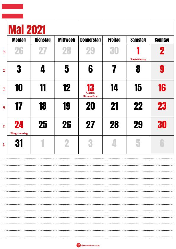 kalender mai 2021 zum ausdrucken Österreich