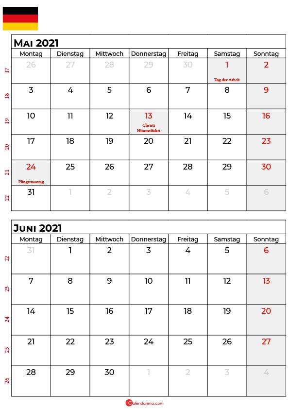 kalender mai juni 2021 Deutschland