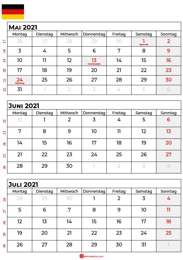 kalender mai juni juli 2021 Deutschland