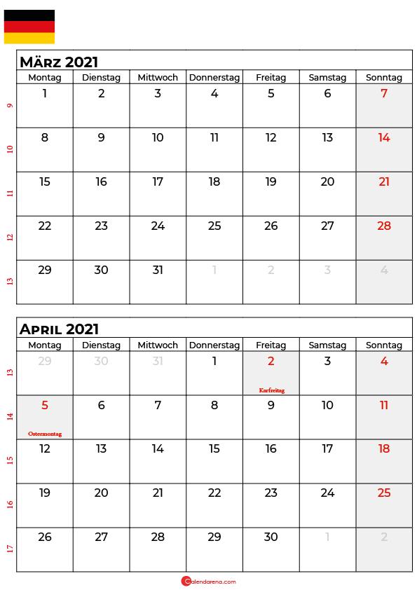 kalender märz april 2021 Deutschland