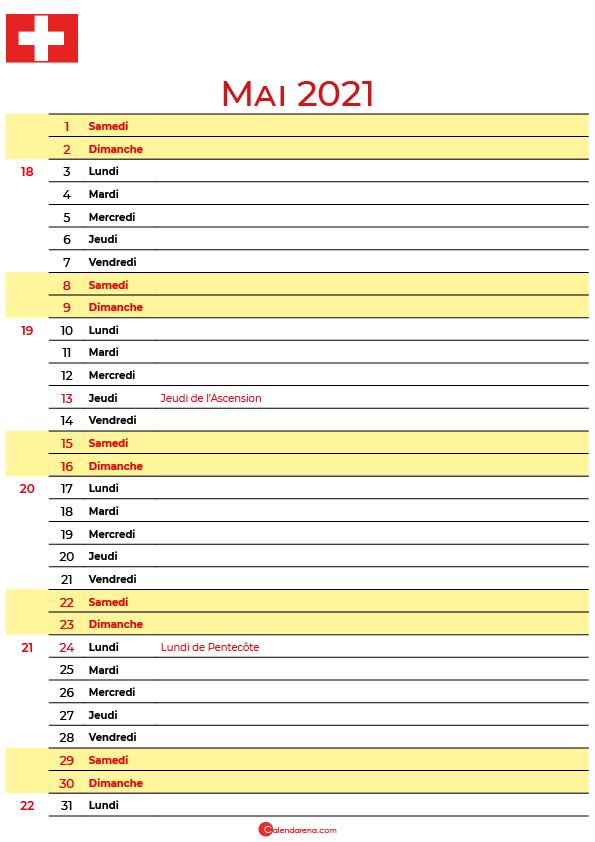mai 2021 calendrier suisse