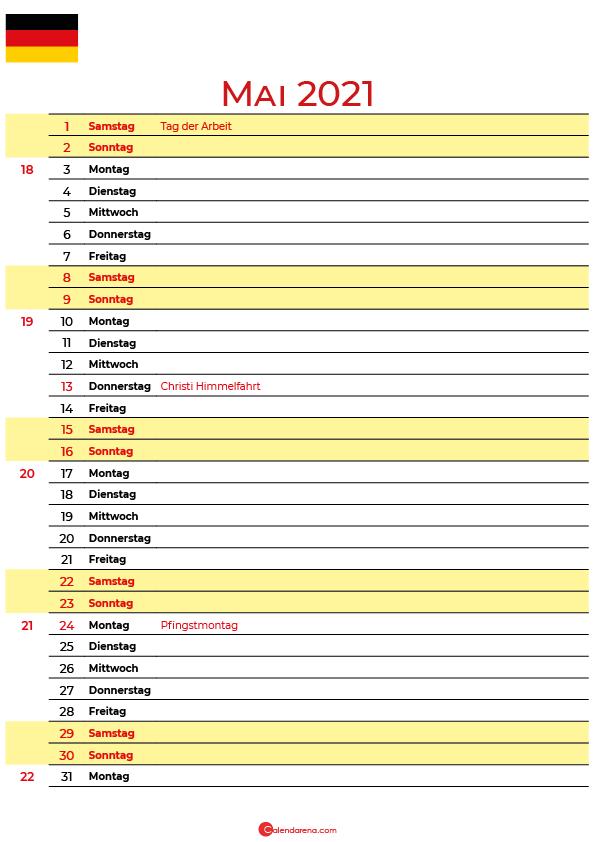 mai 2021 kalender Deutschland