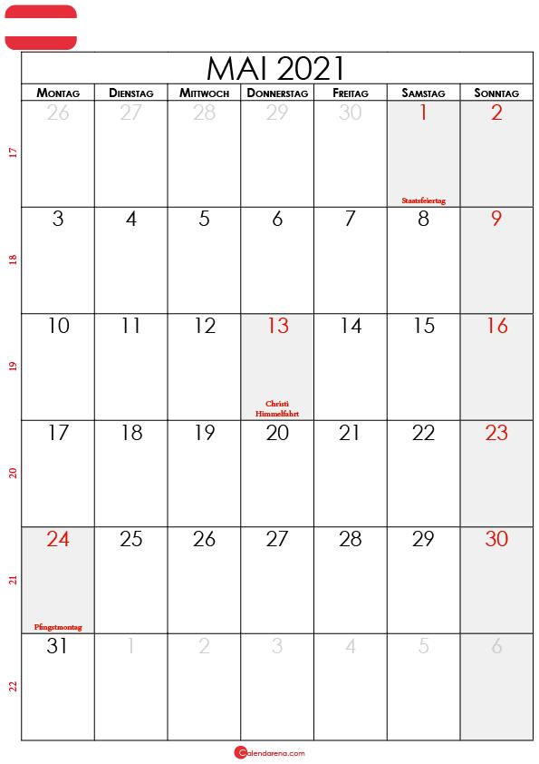 mai 2021 kalender Österreich