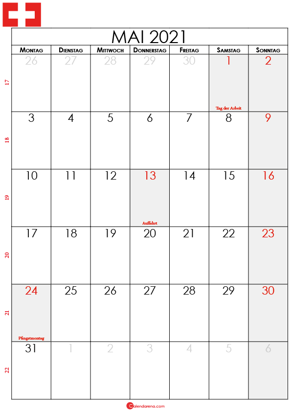 mai 2021 kalender Schweiz