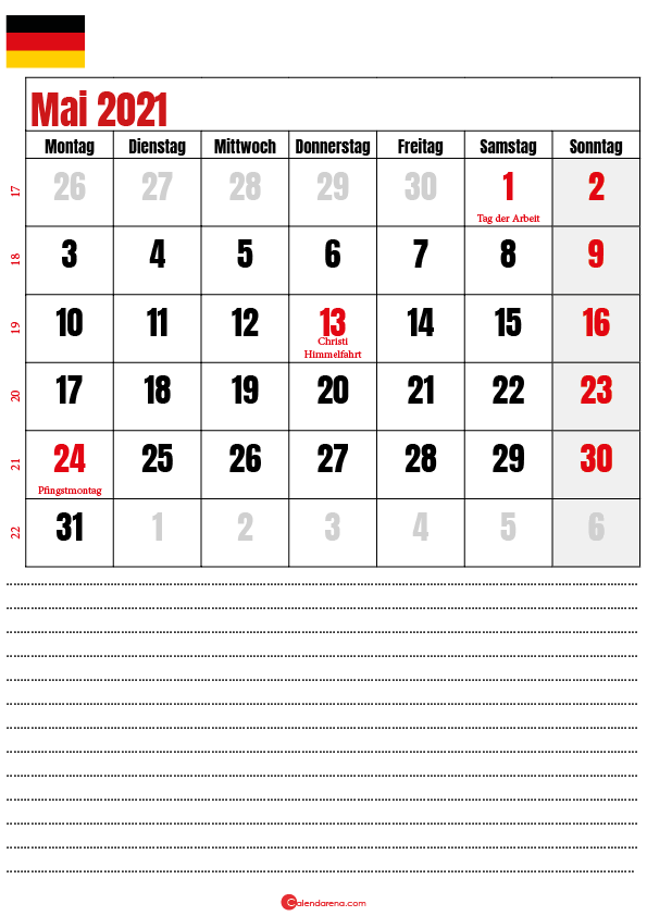 mai kalender 2021 Deutschland