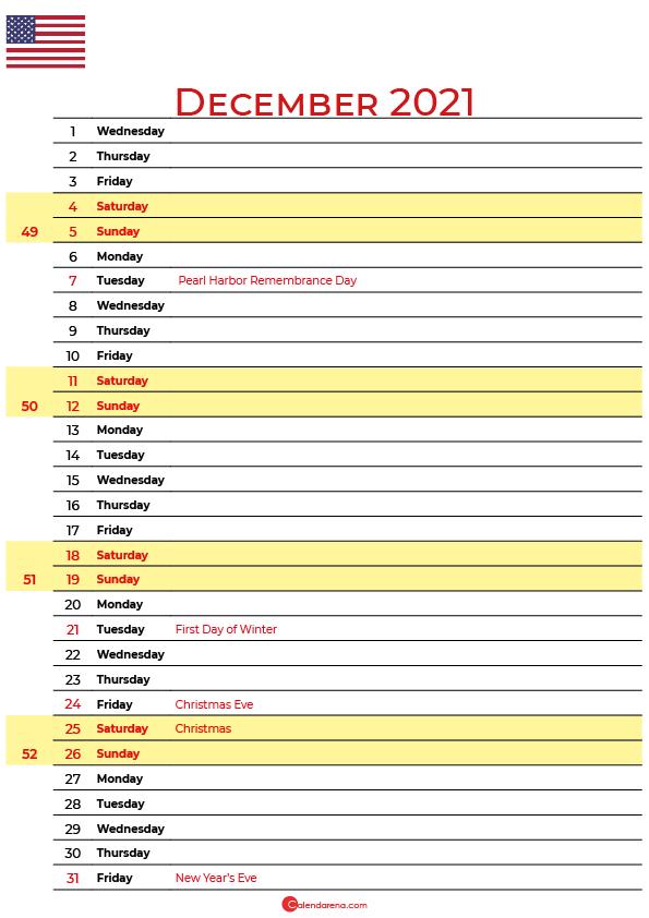 2021 december calendar usa
