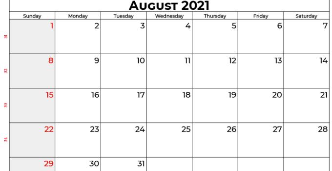 August 2021 calendar usa