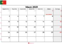 Calendário de Maio de 2021 Portugal