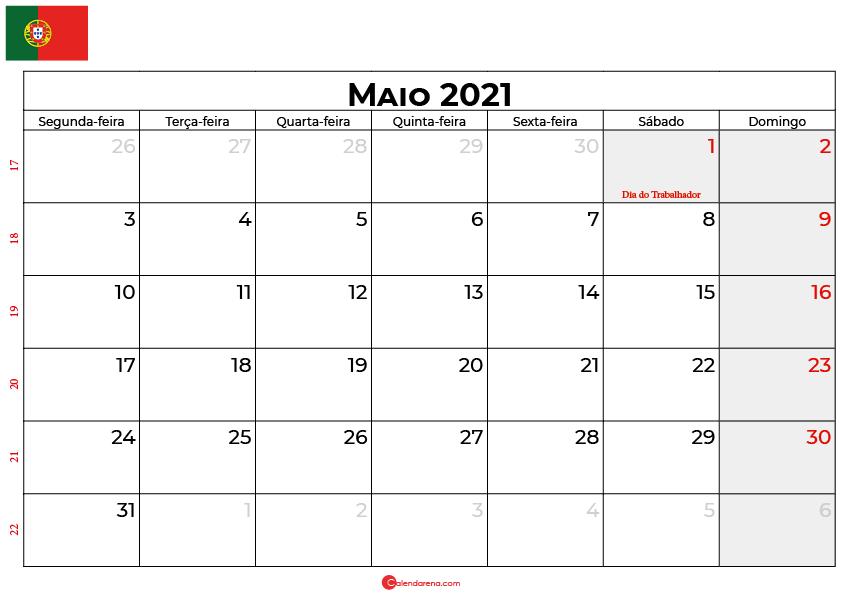 Calendário Maio 2021 Portugal