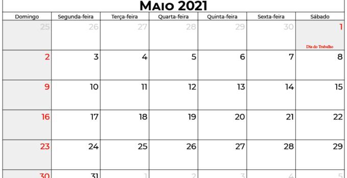 Calendário Maio 2021
