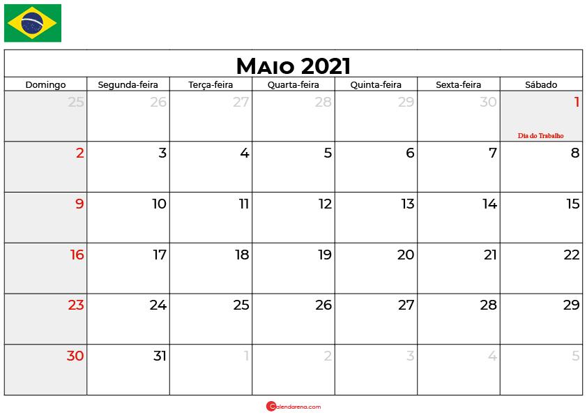 Calendário Maio 2021 brasil