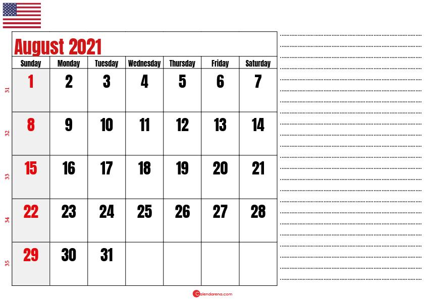 august 2021 printable calendar usa