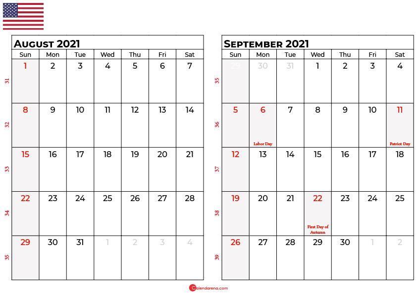 august september 2021 calendar usa