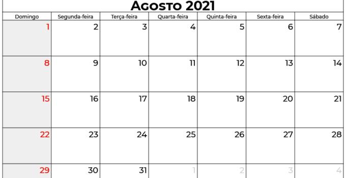 calendário agosto 2021 brasil