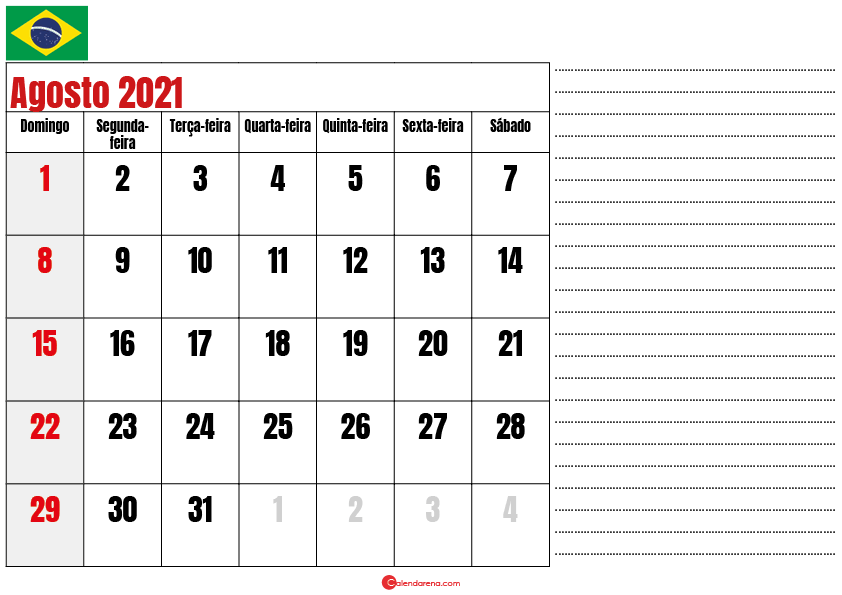 calendario agosto 2021 para imprimir brasil
