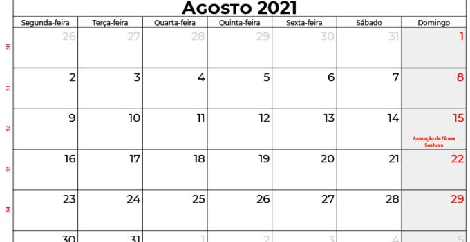 calendário agosto 2021 portugal
