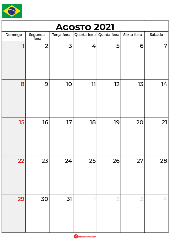 calendário de agosto de 2021 brasil