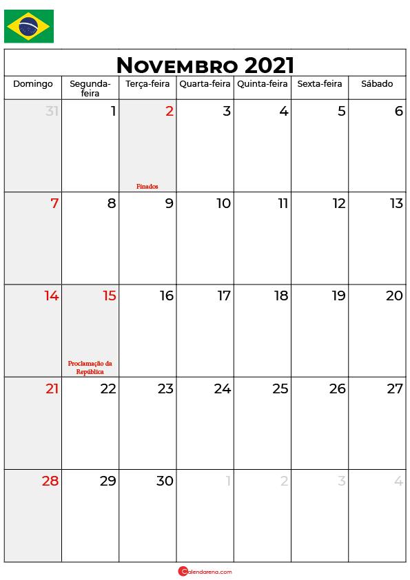 calendário de novembro de 2021 brasil