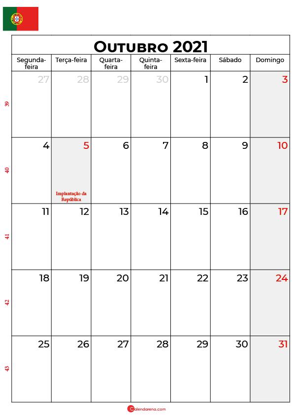 calendário de outubro de 2021 portugal