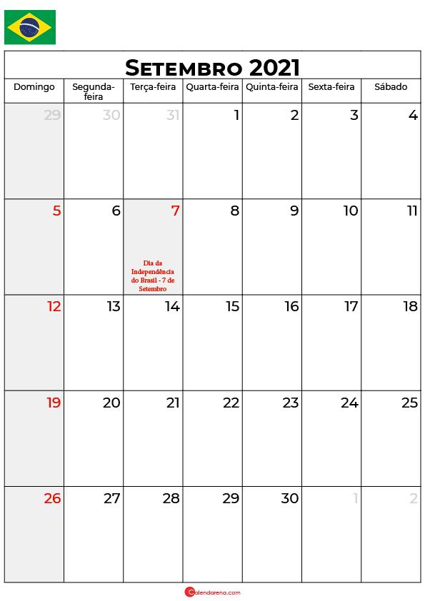 calendário de setembro de 2021 brasil