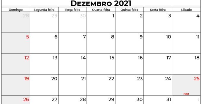 calendário dezembro 2021 brasil