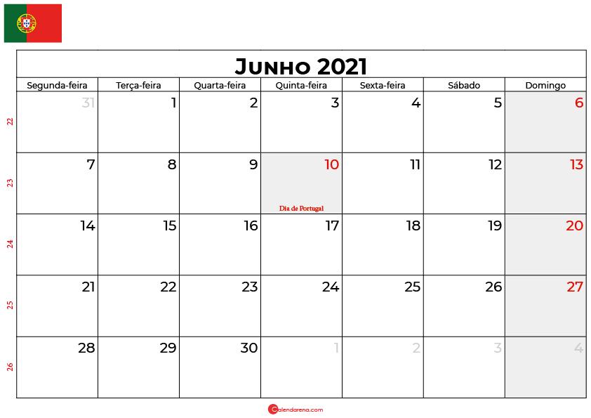 calendario junho 2021 Portugal