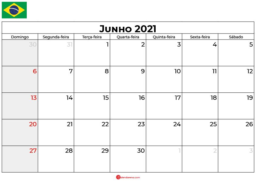 calendario junho 2021 brasil