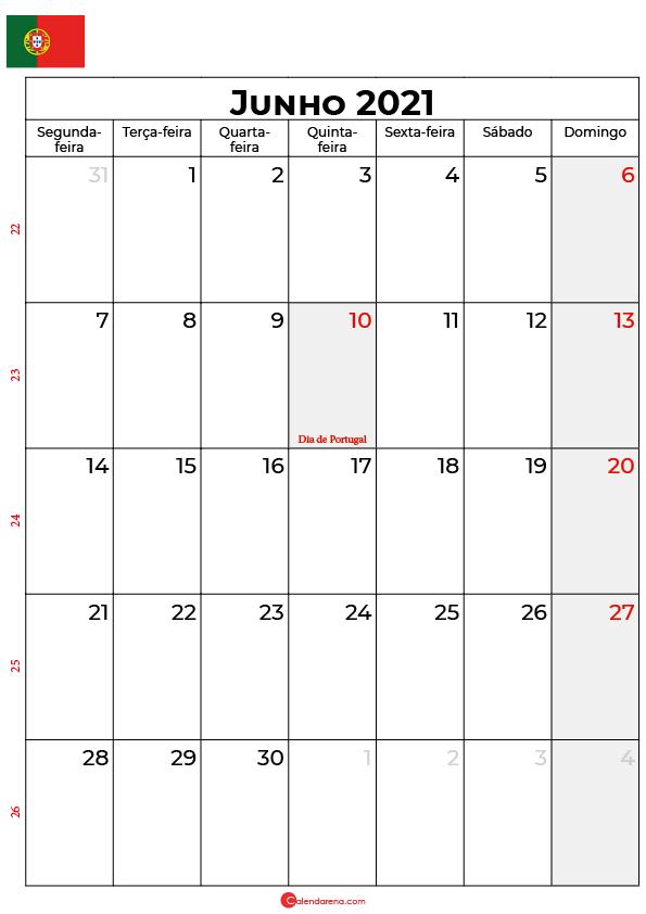 calendário junho 2021 portugal