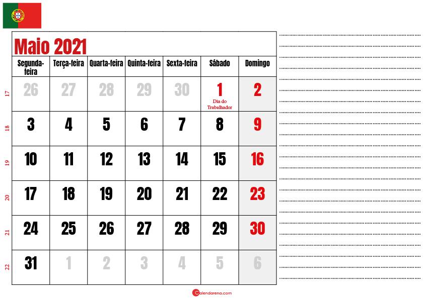 calendario maio 2021 para imprimir portugal