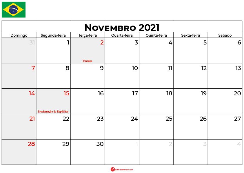 calendário novembro 2021 brasil