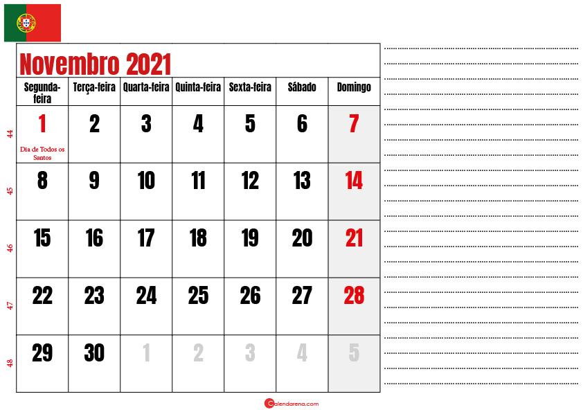 calendario novembro 2021 para imprimir portugal