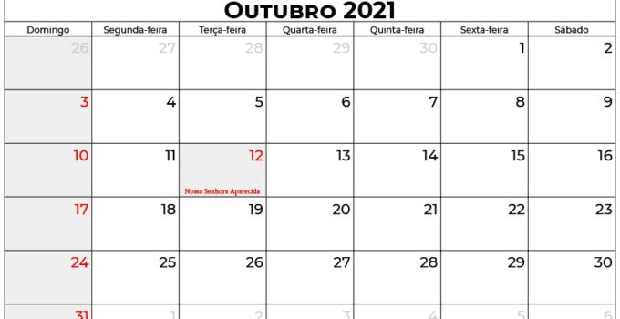 calendário outubro 2021 brasil