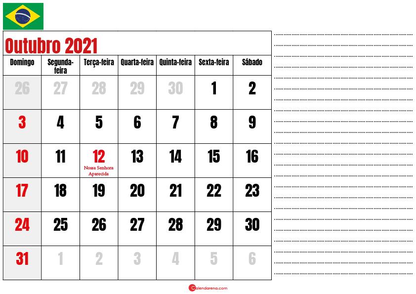 calendario outubro 2021 para imprimir brasil