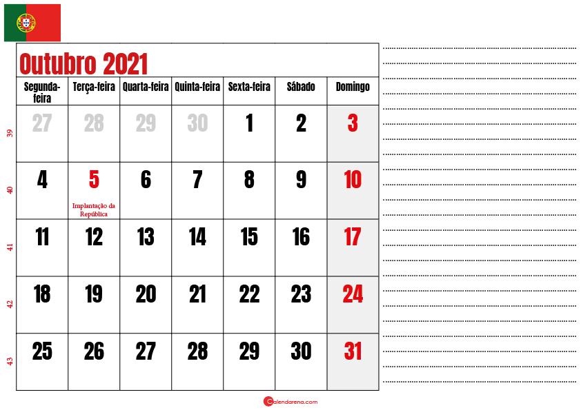 calendario outubro 2021 para imprimir portugal