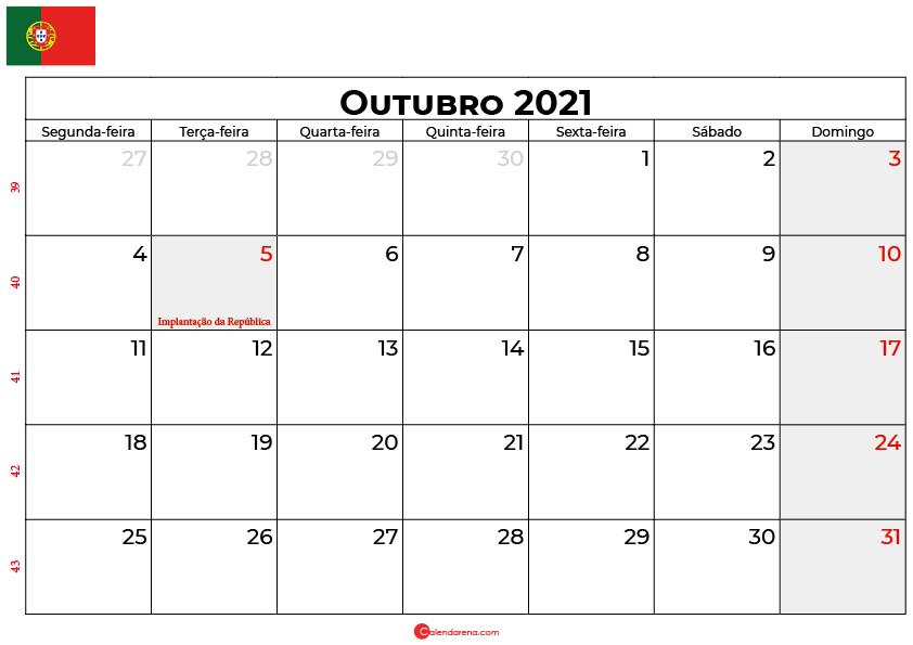 calendário outubro 2021 portugal