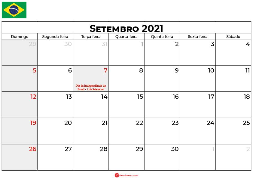 calendário setembro 2021 brasil