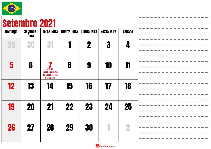 calendario setembro 2021 para imprimir brasil