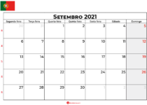 calendário Setembro 2021 Portugal