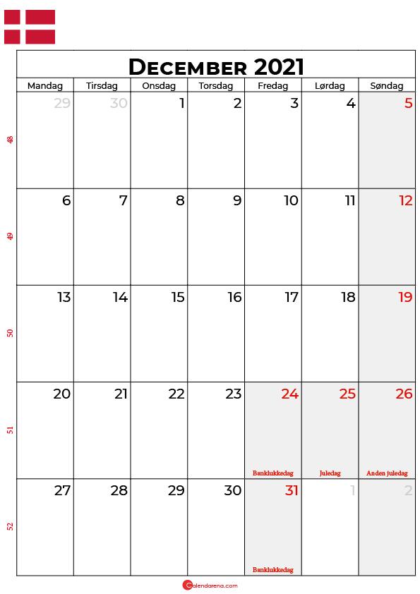 december 2021 kalender