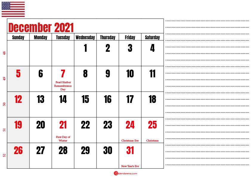 december 2021 printable calendar usa