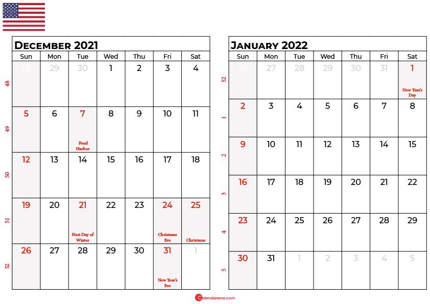 december and january 2022 calendar usa