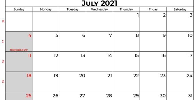 july 2021 calendar usa