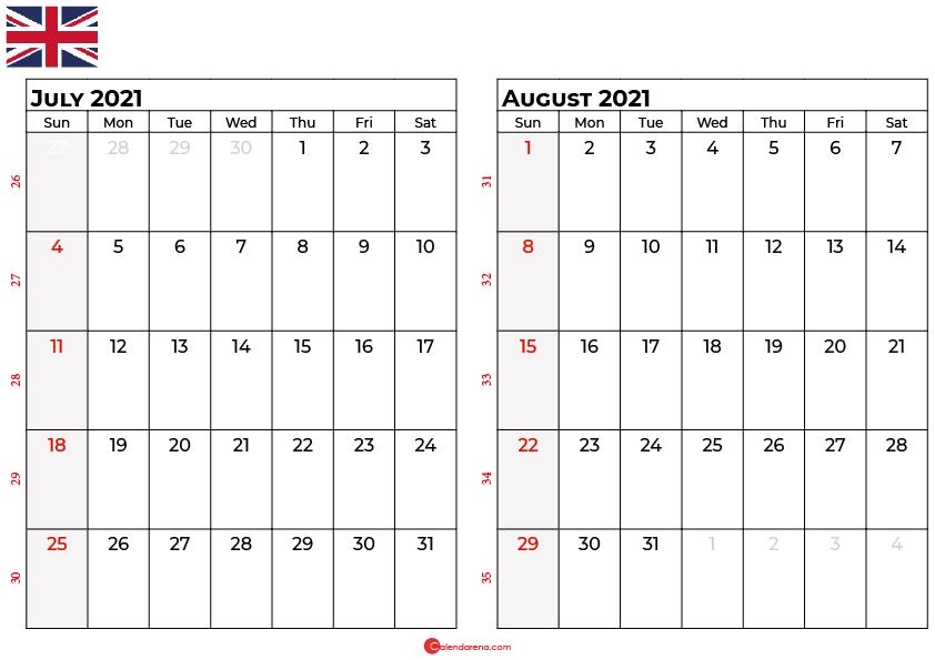 july august 2021 calendar UK