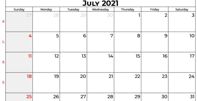 july calendar 2021 UK
