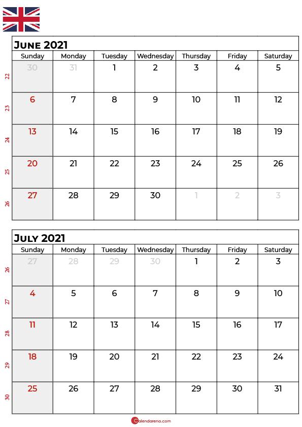 june july 2021 calendar UK